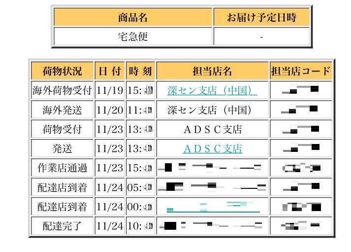 クロネコヤマトの追跡履歴